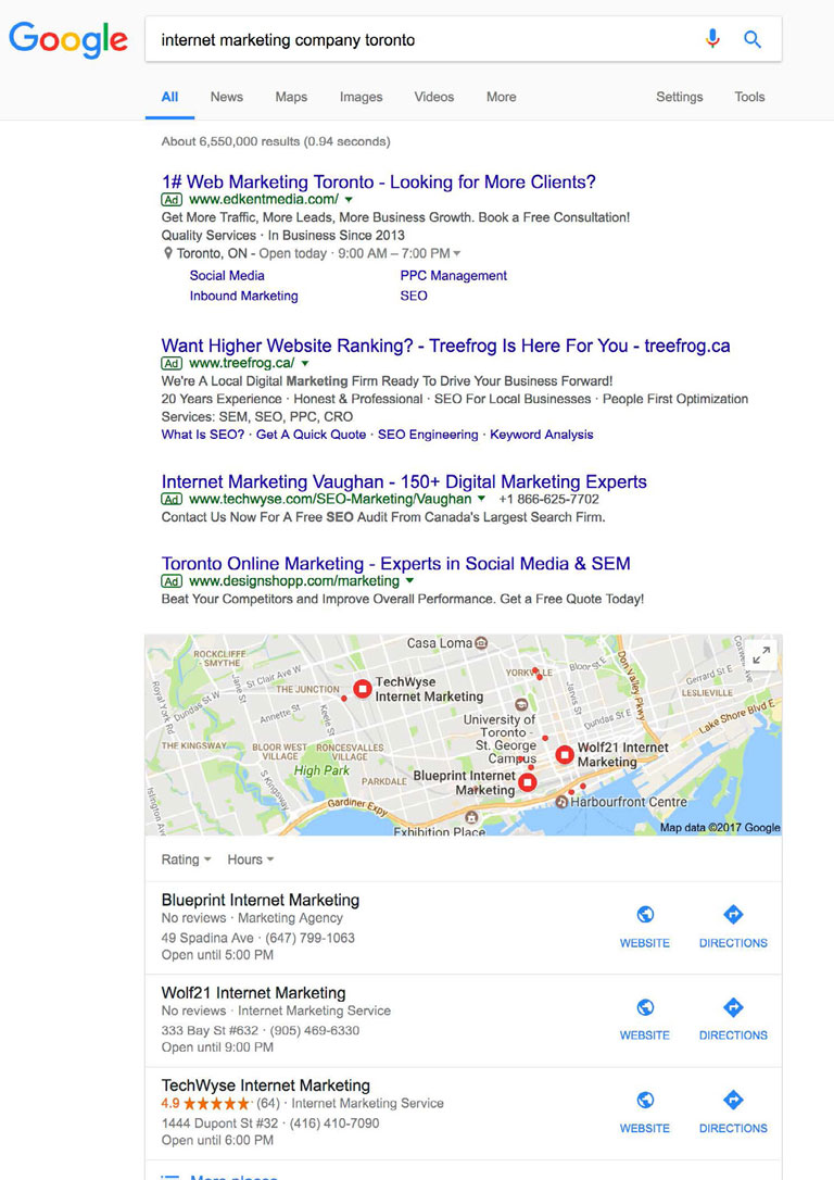 how Google displays organic results for the search term Internet Marketing Company Toronto