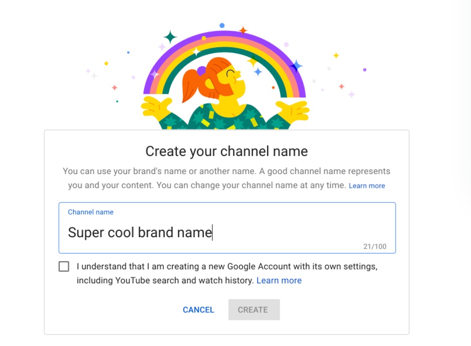 Creating a YouTube brand channel