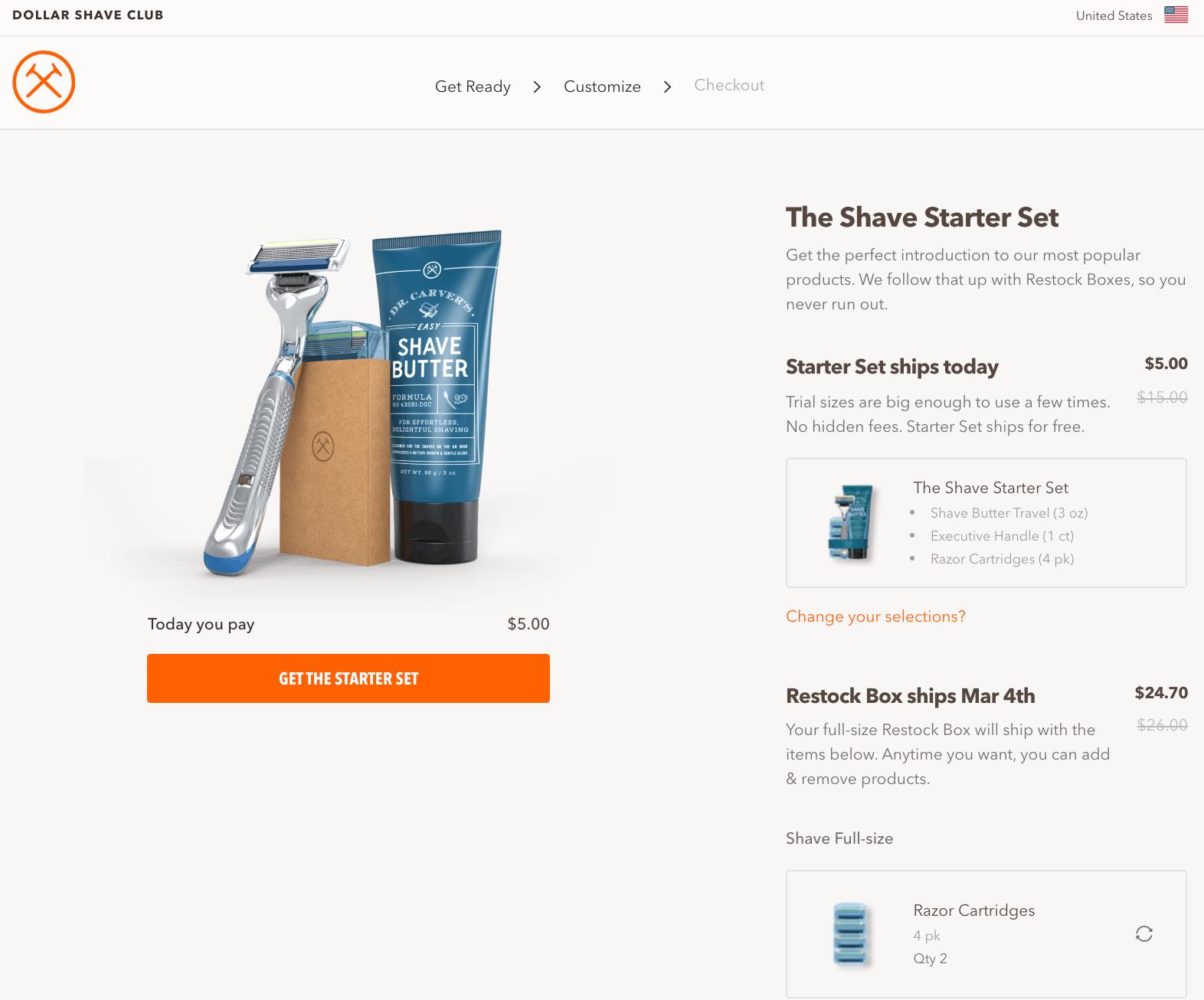 dollar shave club sample